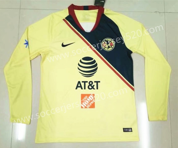 4fcd757f53d 2018-19 Club America Home Yellow Thailand LS Soccer Jersey AAA