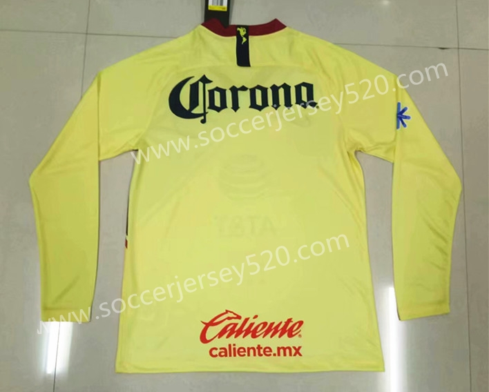 the best attitude abe3d ba81f 2018-19 Club America Home Yellow Thailand LS Soccer Jersey AAA