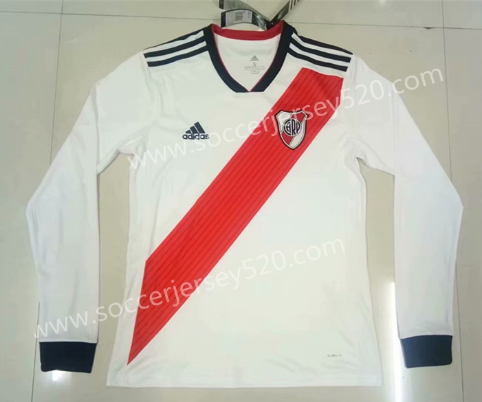 1b0db79cf7f 2018-19 River Plate Home White Thailand LS Soccer Jersey AAA,River Plate