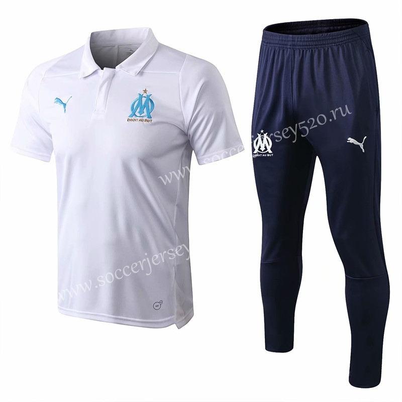 premium selection 4c5c9 58595 2018-19 Olympique de Marseille White Thailand Polo Shirt ...