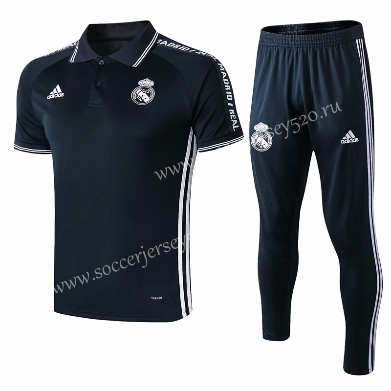 factory authentic abe84 ca45e 2019-20 Real Madrid Navy Blue With Letters Thailand Polo ...