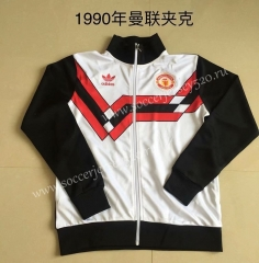Retro Version 1990 Manchester United White Thailand Soccer Jacket-AY