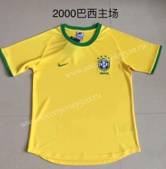 Retro Version 2000 Brazil Home Yellow Tailand Soccer Jersey AAA-DG