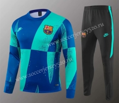 2019-2020 Barcelona Blue&Green Thailand Training Soccer Tracksuit-418
