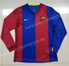 Retro Version 2006-2007 Barcelona Home Red&Blue LS Thailand Soccer Jersey AAA-SL
