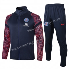 2020-2021 Paris SG Royal Blue Red Sleeve High Collar Thailand Soccer Jacket Unifrom-815