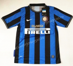 Retro Version 2009-2010 Inter Milan Home Blue&Black Thailand Soccer Jersey AAA-912