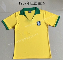 Retro version 1957 Season Brazil Home Yellow Tailand Soccer Jersey AAA-XY