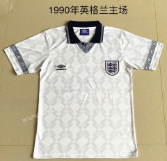 Retro Version 1990 England Home White Thailand Soccer Jersey AAA-709
