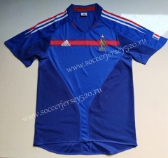 Retro Version 2004 Season France Home Blue Thailand Soccer Jersey AAA-912