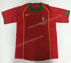 Retro Version 2004 Portugal Home Red Thailand Soccer Jersey AAA-912