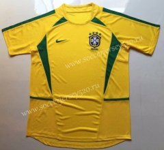 Retro Version 2002 Brazil Home Yellow Tailand Soccer Jersey AAA-912