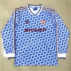 Retro Version 1990-1992 Manchester United Blue LS Thailand Soccer Jersey AAA-908