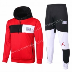 2020-2021 Jordan Red Half Black&White Thailand Soccer Tracksuit With Hat-815