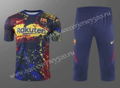 2020-2021 Barcelona Blue&Red&Yellow Short-sleeved Thailand Soccer Tracksuit-418