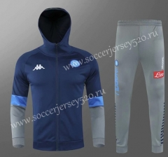 2020-2021 Napoli Blue Soccer Jacket Uniform With Hat-418