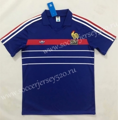 Retro Version 1984-1986 Season France Home Blue Thailand Soccer Jersey AAA-SL