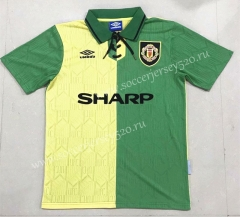 Retro Version 1992-1994 Manchester United Yellow&Green Thailand Soccer Jersey AAA-908
