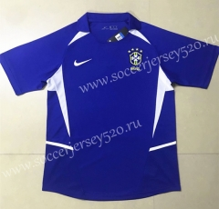 Retro Version 2002 World Cup Brazil Away Blue Thailand Soccer Jersey AAA-HR