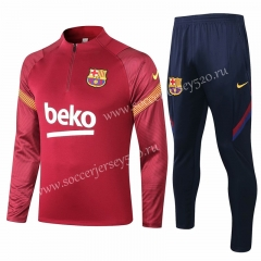 2020-2021 Barcelona Jujube Red Thailand Soccer Tracksuit-815