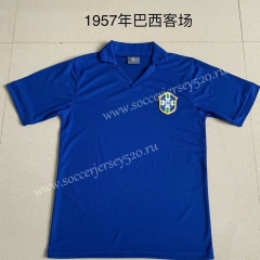 Retro version 1957 Season Brazil Away Blue Tailand Soccer Jersey AAA-AY