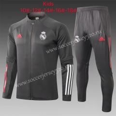 2020-2021 Real Madrid Dark Gray Kids/Youth Soccer Jacket Uniform-815