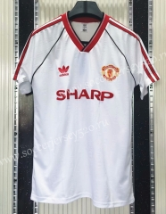 Retro Version 1988 Manchester United Away White Thailand Soccer Jersey AAA-C1046
