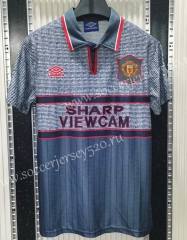 Retro Version 1995-1996 Manchester United Away Gray Thailand Soccer Jersey AAA-C1046