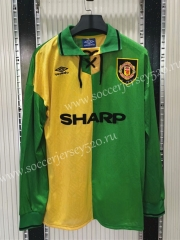 Retro Version 1992-1994 Manchester United Away Yellow&Green LS Thailand Soccer Jersey AAA-C1046