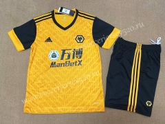 With Ad 2020-2021 Wolverhampton Wanderers Home Yellow Soccer Uniform-FL