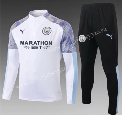 With Ad 2020-2021 Manchester City White Thailand Soccer Tracksuit-815