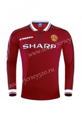 Retro Version 98-99 Manchester United Home Red LS Thailand Soccer Jersey AAA-710