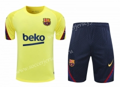 2020-2021 Barcelona Yellow Short-sleeved (Shorts) Thailand Soccer Tracksuit-418