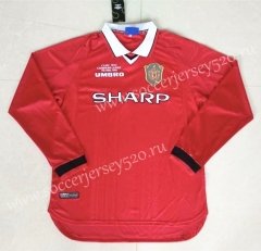 Retro Version 1999-2000 Manchester United Home Red LS Thailand Soccer Jersey AAA-422