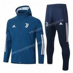 2020-2021 Juventus Blue Trench Coats Uniform With Hat-815