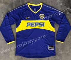 Retro Version 03-04 Boca Juniors Home Blue Thailand LS Soccer Jersey AAA-SL
