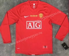 Champions League Retro Version 07-08 Manchester United Home Red LS Thailand Soccer Jersey AAA-510