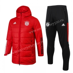 2020-2021 Bayern München Red Cotton Coats Uniform With Hat-815