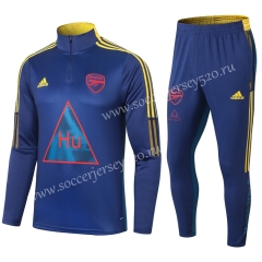 Signed Jointly Version 2020-2021 Arsenal Royal Blue Thailand Soccer Tracksuit-411