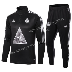 Signed Jointly Version 2020-2021 Real Madrid Black Soccer Tracksuit-411