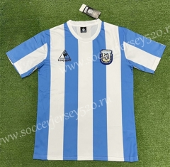 Retro Version 1986 Argentina Home Blue&White Thailand Soccer Jersey AAA-403