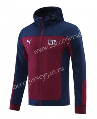 2020-2021 Manchester City Royal Blue&Dark Red Thailand Soccer Jacket With Hat-LH