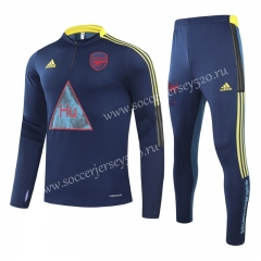 Signed Jointly Version 2020-2021 Arsenal Royal Blue Kids/Youth Thailand Soccer Tracksuit Unifrom-GDP