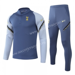 2020-2021 Tottenham Hotspur Blue&Gray Kids/Youth Tracksuit Uniform-GDP