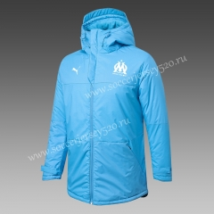 2020-2021 Olympique Marseille Light Blue Cotton Coats With Hat-815