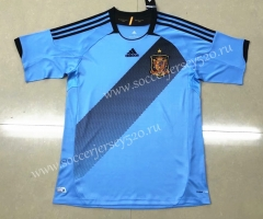 Retro Version 2012 European Cup Spain Away Blue Thailand Soccer Jersey AAA-HR