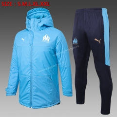 2020-2021 Olympique Marseille Light Blue Cotton Coats Uniform With Hat-815