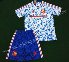 Signed Jointly Version 2020-2021 Manchester United Blue&White Soccer Uniform-SKE