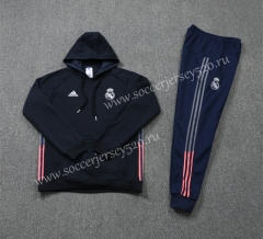 2020-2021 Real Madrid Royal Blue Ribbon Soccer Tracksuit Uniform-LH