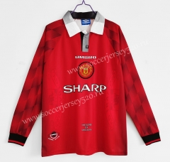 Retro Version 1996-1997 Manchester United Home Red LS Thailand Soccer Jersey AAA-C1046